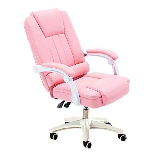 Stühle Büromöbel Rosa Prinzessin Büropersonal Leder E-Sport-Spiel Ergonomischer Bürostuhl Comfort Frühling Bag Kissen Schreibtischstühle (Color : Pink, Size : 110 * 65 * 50CM)