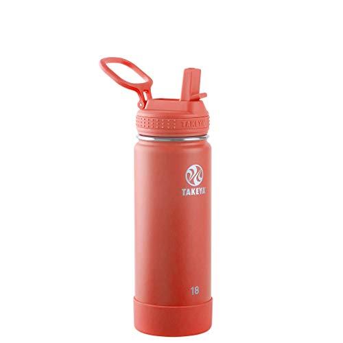 Takeya Actives - Borraccia termica con coperchio con cannuccia, colore: Corallo, 18 once