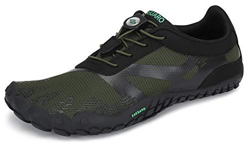 SAGUARO Barfußschuhe Barfussschuhe Herren Damen Minimalistische Trail Laufschuhe Zehenschuhe Joggen Wandern Training Barfuß Sportschuhe Fitnessschuhe Männer Frauen, Grün, 42 EU