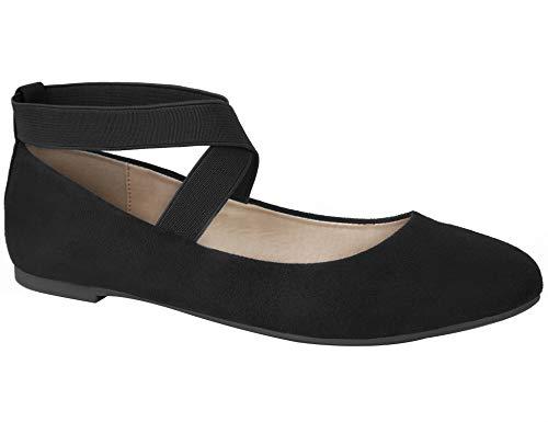 MaxMuxun Damen Geschlossene Ballerinas Flache Schuhe Schwarz Größe 40 EU