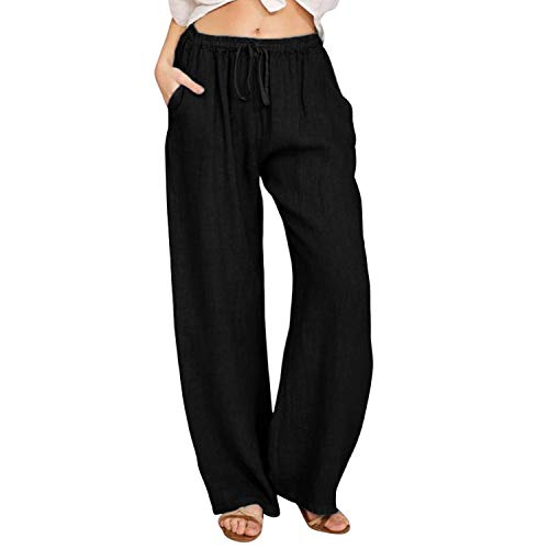 semen Pantalon Femme Coton Lin Pantalon Léger Cordon Élastique Ample Pants Large Longueur Confortable avec Poches Sport Yoga Automne Printemps