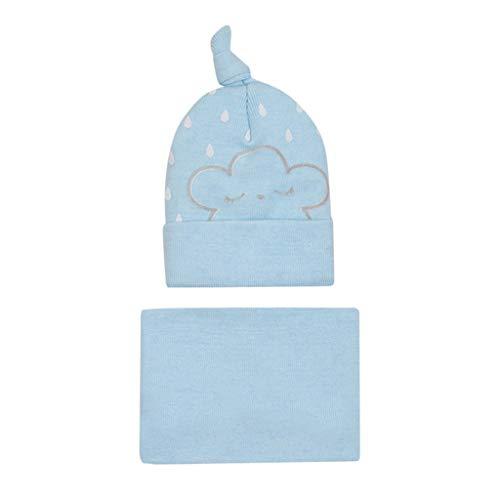 Ucoolcc Neugeborene Baby Wintermütze Schal Zweiteiliger Latzhut - strickmütze Kinder mit bommel Einfarbig - strickmütze Baby Junge Winter - erstlingsmütze