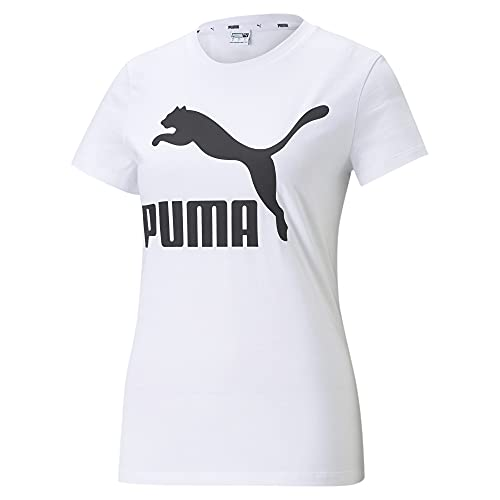PUMA Women's Classics Logo Tee, White, Medium