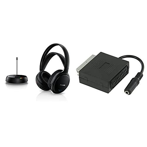 PHILIPS Shc5200/10 Cuffie Hifi Wireless Sovrauricolari (32-Mm-Driver, Trasmissione Fm Wireless) & Valueline Vlvp31930B02 Adattatore, Audio-Stereo Scart Maschio Jack Stereo Femmina Da 3.5Mm Da 0.20M