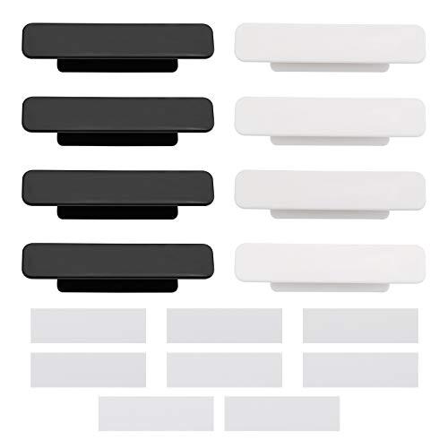 8 piezas de mango autoadhesivo con 16 cintas laterales dobles para puerta, ventana, armario, armario, nevera, manijas para puertas de vidrio, pequeño, negro, blanco