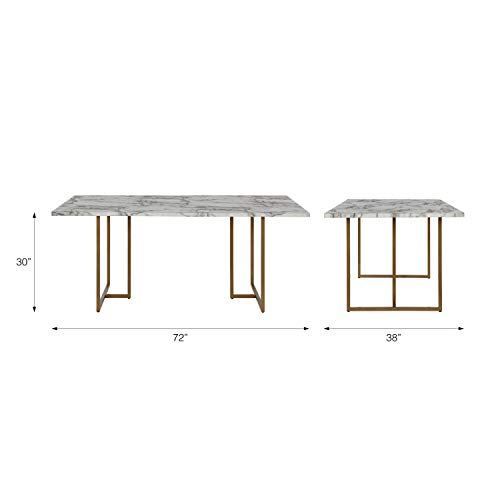 Cosmoliving By Cosmopolitan Cosmoliving Edith Rectangular Faux Marble White With Brass Golden Legs Dining Table Buy Online In Faroe Islands At Faroe Desertcart Com Productid 171868510