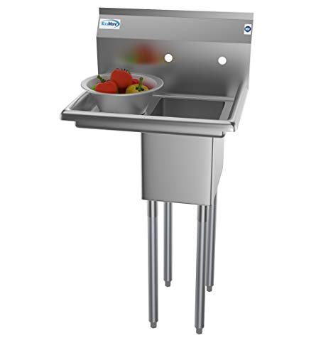 KoolMore 1 Compartment Stainless Steel NSF Commercial Kitchen Prep & Utility Sink with Drainboard - Bowl Size 10' x 14' X 10'