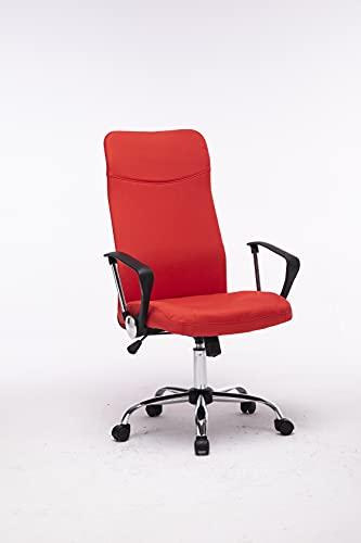 MUEBLIX.COM | Silla de Escritorio Rojo Toledo | Sillon de Oficina o Despacho con Respaldo Reclinable con Ruedas | Sillas Escritorio Giratoria Estilo Moderno de Polipropileno | Color Rojo