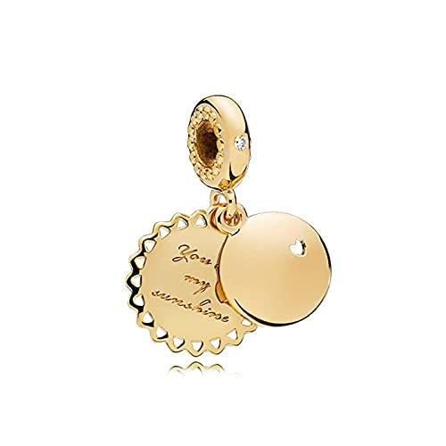 LILANG Pulsera de joyería Pandora 925 Natural You Are My Sunshine Colgante Oro Original ModaEncanto Mujeres DIY Regalos