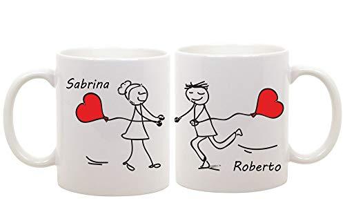 t-shirteria Coppia di Tazze Amore - Personalizzabili con Il [Nome] - Idea Regalo per l' Innamorato - San Valentino - Una Personalizzazione Unica per la Coppia