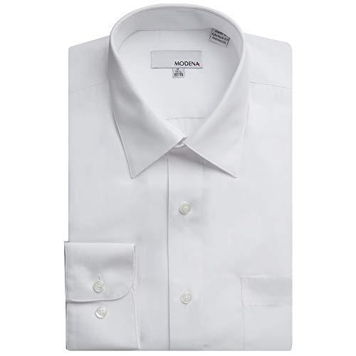 Modena Men's CLOR Regular Fit Long Sleeve Dress Shirt - 19 4-5 - White