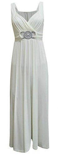 ModaLoco Abendkleid / Ballkleid, lang, mit Schnalle Gr. 46, cremefarben