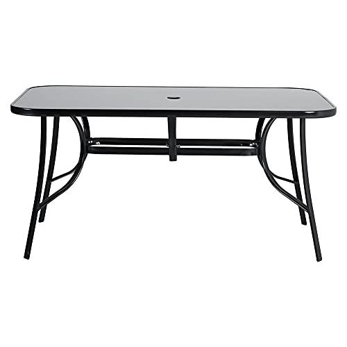 DKIEI Outdoor Rectangle Dining Table Black Table Coffee Table Leisure Table Dining Table Tempered Glass Top with Parasol Hole for Garden Patio Balcony Backyard, 150x90x72cm