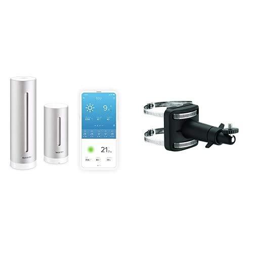 Netatmo Wetterstation innen und außen mit Außensensor und Wettervorhersage, Kompatibel mit Alexa & Halterung für Regenmesser und Windmesser, schwarz