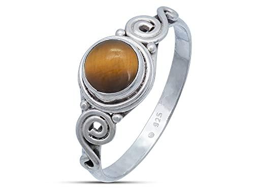 Anillo de plata de ley 925 ojo de tigre (No: MRI 115), Ringgröße:54 mm/Ø 17.2 mm