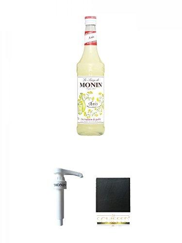 Monin Anis Sirup 0,7 Liter + Monin Dosier Pumpe für 0,7 & 1,0 Literflasche + Schiefer Glasuntersetzer eckig ca. 9,5 cm Durchmesser