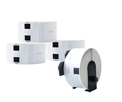 Aomya 4 Pack DK-1208 Large Address Label Compatible for BRO DK 1208 with 1 Reusable Cartridge 38mmx90.3mm 1.4
