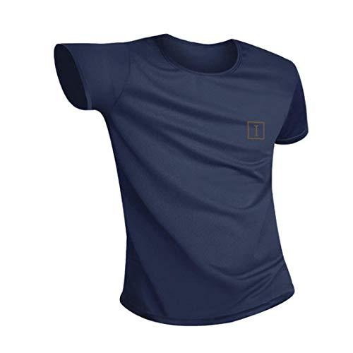 Irypulse Magliette Idrorepellente Impermeabile Antivegetativa per Uomo e Donna, Unisex T-Shirt Girocollo, Maglietta Sportiva Casual Manica Corta - Asciugatura Rapida - Traspirazione - Blu Scuro