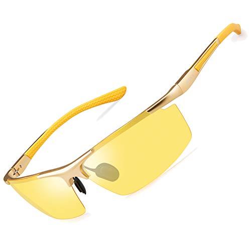 SOXICK Night Driving Glasses For Men Polarized Anti-glare Glasses (Gold 3)