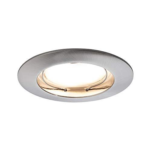 Preisvergleich Produktbild Paulmann 93976 Einbauleuchte LED Coin flach Einbaustrahler Komplettset satiniert Einbaurahmen rund Deckenspot 3x6, 8W Einbaulampe Eisen,  eisen gebürstet,  satin