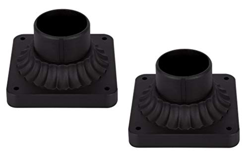 LIT-PaTH Outdoor Post Light Mounting Base, Pier Mount Base with Matte Black Finish, 2-Pack