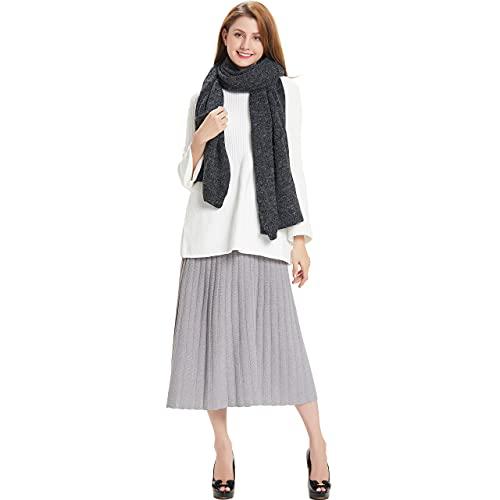 Hanerdun's Womens Thick Knit Wrap Soft Warm Shawl Winter Scarf With Pocket, Black, One Size