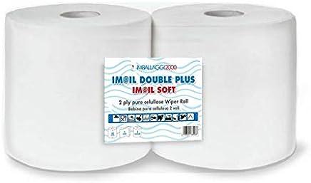 IMBALLAGGI 2000 Coppia di Bobine rotoloni di Carta Asciugamani Rotolo 1600 Strappi Assorbente …