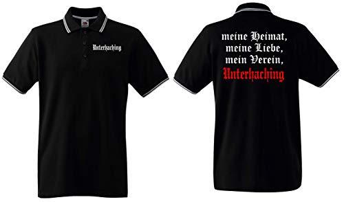 World of Shirt Herren Polo-Retro Shirt Unterhaching Meine Heimat Mein Verein