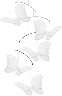 white butterfly hanging mobile
