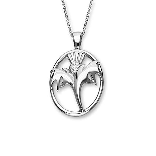 Sterling Silver Traditional Scottish Thistle The Flower of Scotland Design Necklace Pendant Oval Shaped