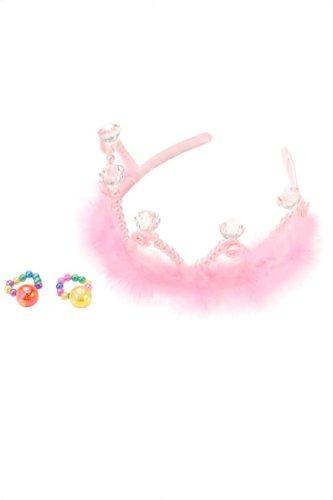 Prinzessin Fee Set Kinder Krone Diadem mit Ringen 3-teilig pink Plüsch