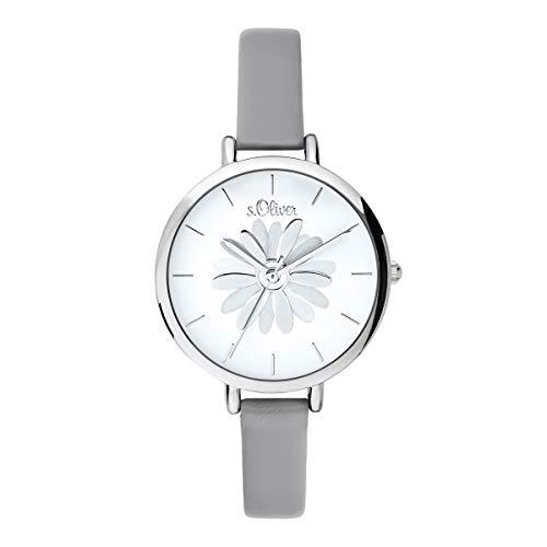 s.Oliver Damen Analog Quarz Uhr mit Leder Armband SO-3704-LQ