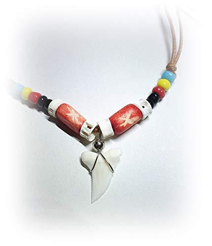 Hejoka-Shop NEU echter Haizahn Kette Hai Zahn Haifischzahn ca. 15 x 15 mm. Surferkette mit Perlen und Bone ROT