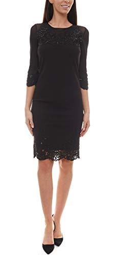 Guido Maria Kretschmer Kleid glitzerndes Damen Pailletten-Kleid mit transparenten 3/4-Ärmeln Schwarz Cocktail-Kleid Party-Kleid Schwarz, Größe:36