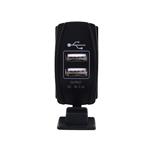 Qiilu Chargeur de voiture USB, USB Chargeur Adaptateur Voiture DC 12V-24V Bleu LED Double Chargeur USB Carling ARB Rocker Interrupteurs 5 V 3.1A