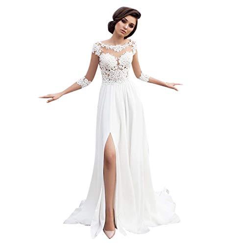 Bumplebee Hochzeitskleid Damen Lang Weiß Brautkleider Elegant Spitze Brautmode Rückenfrei A Linie Abiball Prinzessin Kleider Abendkleider Elegant für Hochzeit