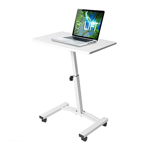 "Seville Classics 23.6"" Solid-Top Height Adjustable Mobile Laptop Desk Cart Ergonomic Table, White"