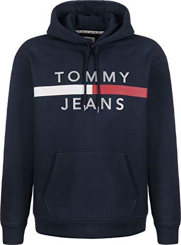 Tommy Jeans de los Hombres Sudadera con Capucha y Bandera Reflectante, Azul