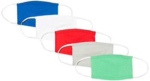 Oscar Apparels Kinder Wiederverwendbare Stoffmaske, 100% BCI Baumwolle mit elastischer Schlaufe, Farbmix 2, Kinder (5er Pack)