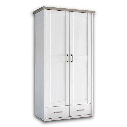 LUCA Eleganter Kleiderschrank Babyzimmer 2-türig - Vielseitiger Drehtürenschrank mit viel Stauraum in Pinie Weiß / Trüffel - 106 x 201 x 55 cm (B/H/T)