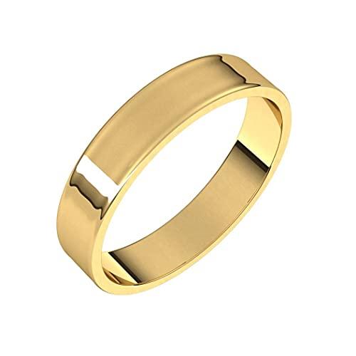 Anillo de oro amarillo de 14 quilates, plano de 4 mm, ultra ligero, plano, ultra ligero, para mujeres, rango de opciones de tamaño del anillo: J a V, Metal,
