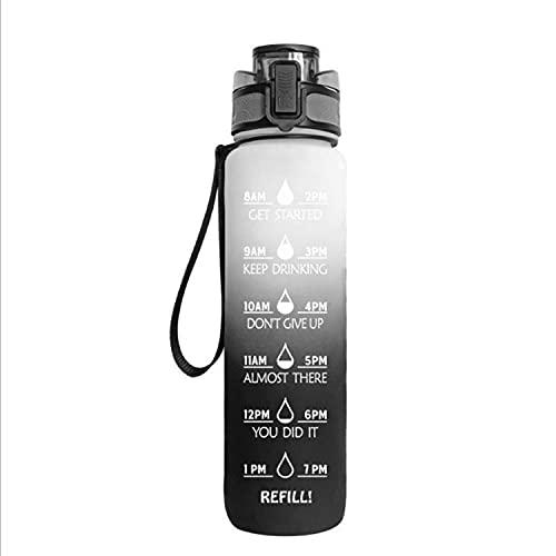Jodimitty Botella de agua con pajita y asa, botellas de agua a prueba de fugas, sin BPA, cierre de 1 clic, gran jarra de agua deportiva para gimnasio, viajes y exteriores (negro y blanco, 1 L)