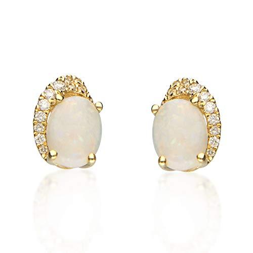 Gin & Grace 10K oro amarillo de ópalo y diamante natural (I1, I2) Pendiente de la Mujer