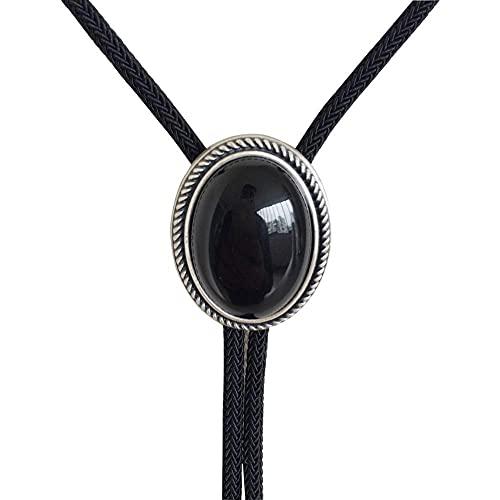 Lztly Nuevo Jean S Amigo Original Nature Black Obsidian Stone Oval Boda Bollo Corbata Collar Bolotie 069