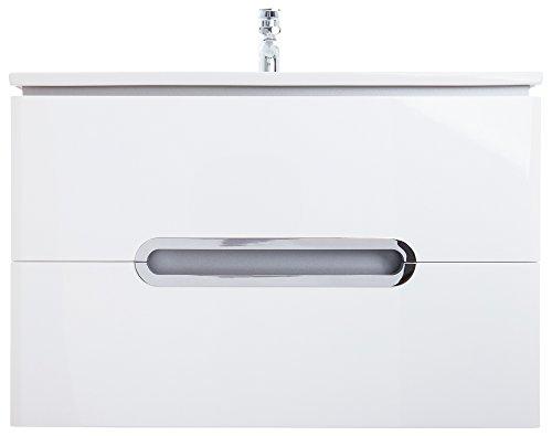 Waschplatz Badmöbel Set mit 2 Auszügen | Maße: 65 cm x 55 cm x 45 cm (BxHxT) | Marke JUVENTA * Serie PRATO | Hochwertiges Keramik Waschbecken / Waschtisch | Unterschrank mit exzellenter Hochglanz Lackierung in Weiß Echtlack| Verchromte Griffmuscheln | Auzüge mit Soft-Close Funktion | Bereits vormontiert | Modernes Design | 100%ige Zufriedenheitsgarantie | Hohe Schmutzabweisung * Schlagfest * Wasserabweisend | UNSCHLAGBARER PREIS | Kostenloser Versand und Rückversand | Sofort lieferbar