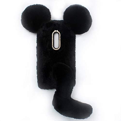 YHY Linda Funda De Teléfono con Forma De Ratón para Nokia 7.1 Plus Funda Silicona TPU Felpa Romántica Creativa De Moda Negro