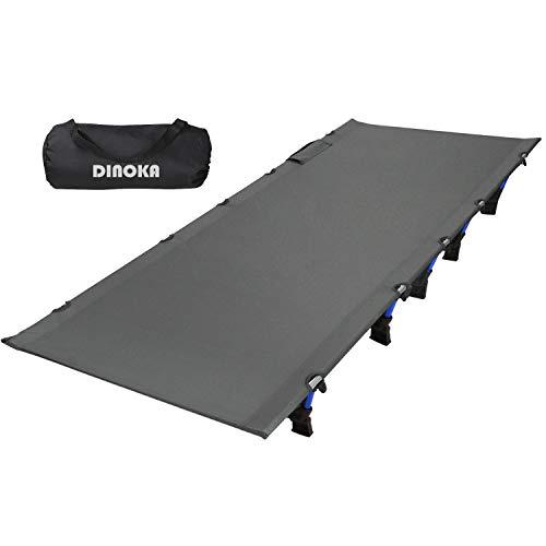 アウトドアベッド キャンプコット DINOKA 折り畳み式ベッド キャンピングベッド 耐荷重180KG ワイドサイズ200×70×17CM コンパクト 組立簡単 山登り 防災 1年保証 … (グレー)