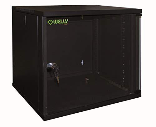 "Welly Enjoy WY40002 Armadio Rack 19"", Massima capacità di carico 50 Kg, Ral 9005, Nero, 54 x 45 x 58 cm, 12 Unità"