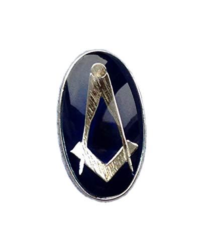 Manschettenknöpfe, freimaurerisch, blaue Emaille & silberfarben, oval, mit Kette, in transparenter Tasche – Comic Sans MS – Gravur