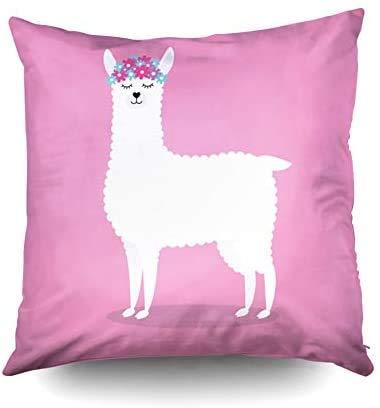 Funda de almohada con cremallera, fundas de funda de almohada cuadrada estándar Llama blanca de dibujos animados plana con flores aisladas sobre fondo rosa impresas con ambos lados en pulgadas